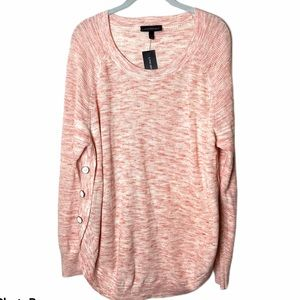 Lane Bryant Heathered Pink Side Button Sweater